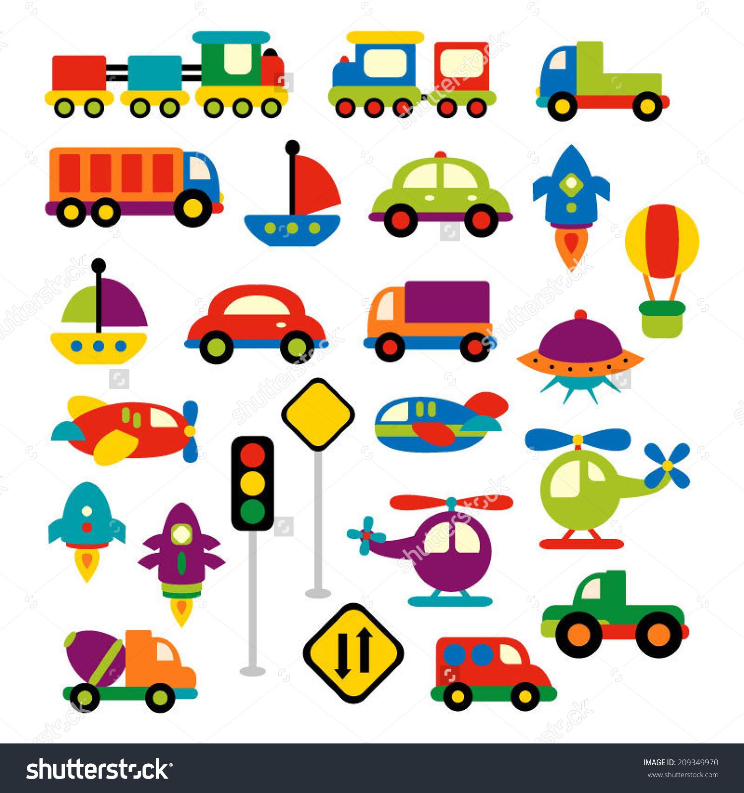 Transportation vector clip art in bright colors. Trains, trucks, cars, boat,
