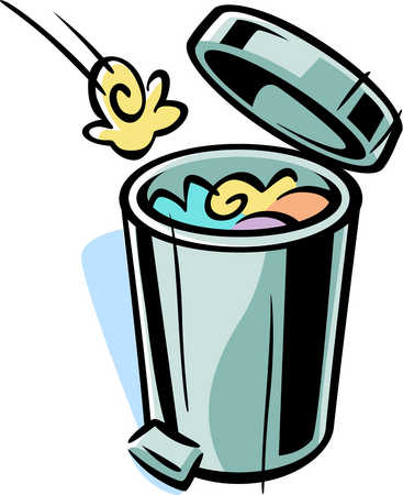 Cartoon drawing of a trash can