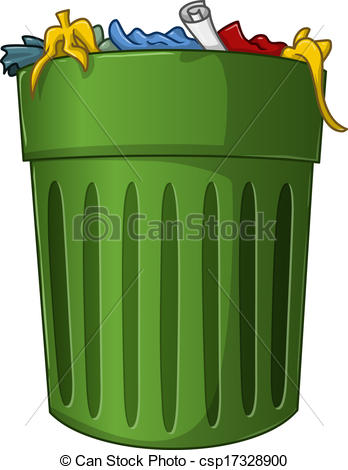 Trash Can with Trash Inside - csp17328900