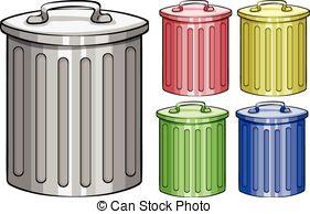 . ClipartLook.com Trash cans - Five different color trash cans