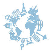 Air travel; World travel landmarks and monuments