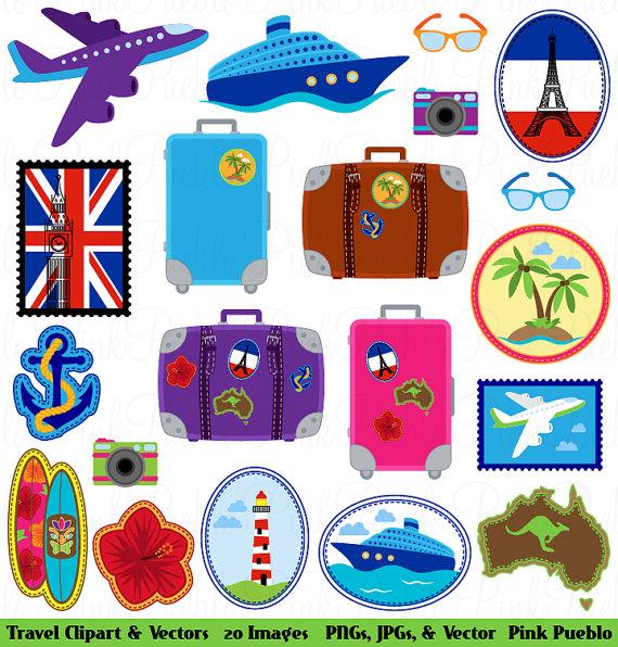 Travel Clipart Clip Art, Vacation Beach Clipart Clip Art Vectors -  Commercial and Personal
