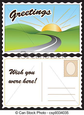 ... Travel Postcard - Travel postcard, road, hills, sunny day.