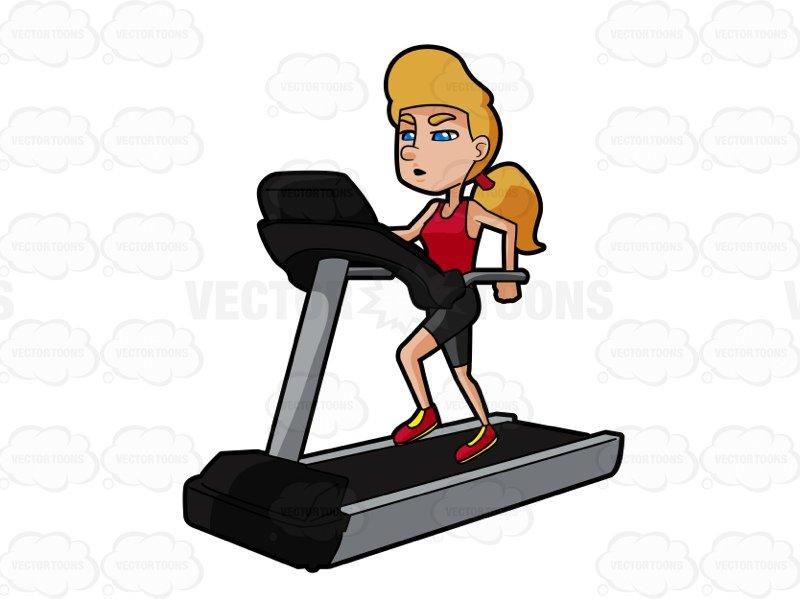 Blonde Woman Running On A Treadmill-Blonde Woman Running On A Treadmill-17