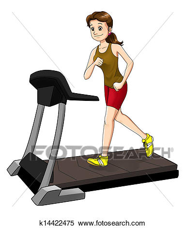 Cartoon illustration of a woman on a tre-Cartoon illustration of a woman on a treadmill-1