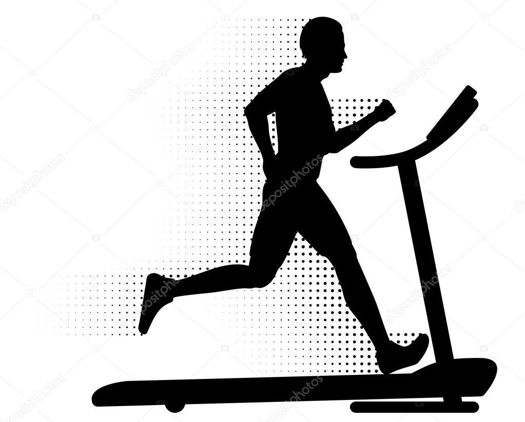 Man Running on a Treadmill u2014 Stock V-Man Running on a Treadmill u2014 Stock Vector-6