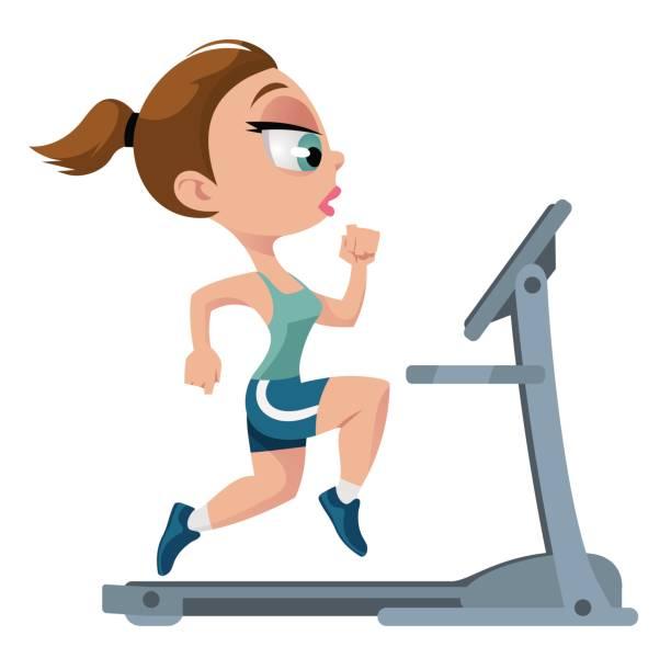 Sports girl running on treadmill vector -Sports girl running on treadmill vector art illustration-5