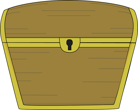 Treasure Chest Clip Art Image - closed treasure chest with gold trim.