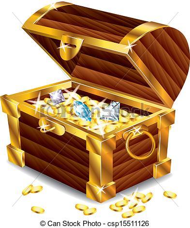 opened treasure chest with treasures - csp15511126