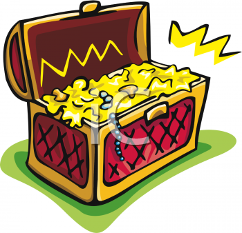 Treasure Chest of Gold and Jewels Clip Art - Royalty Free Clipart  Illustration