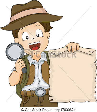 Treasure Hunt Boy - Illustration of a Boy in Camping Gear.