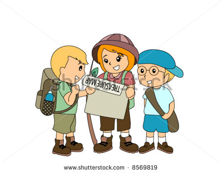 Treasure Hunt Clip Art Children Hunting Treasure