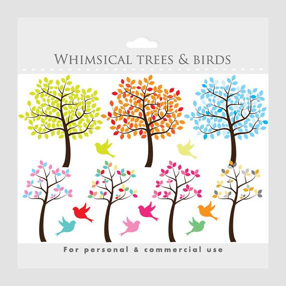 Tree Clipart Tree Clip Art Whimsical Cute Sweet Birds Bird