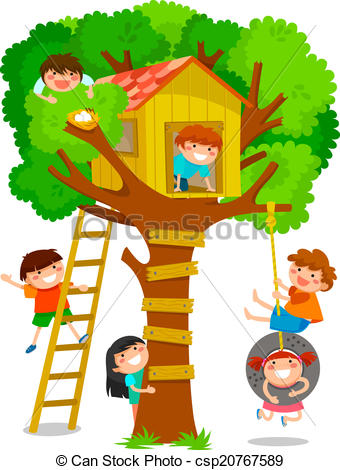 ... Tree House - Children Playing In A T-... tree house - children playing in a tree house-11