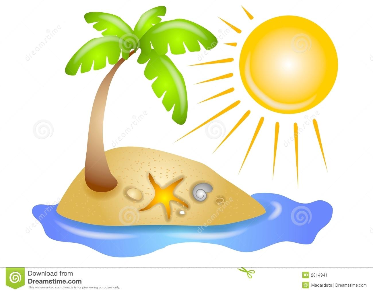 Tree Ona Deserted Island With Beach Shel-Tree Ona Deserted Island With Beach Shells Water And A Glowing Sun-17