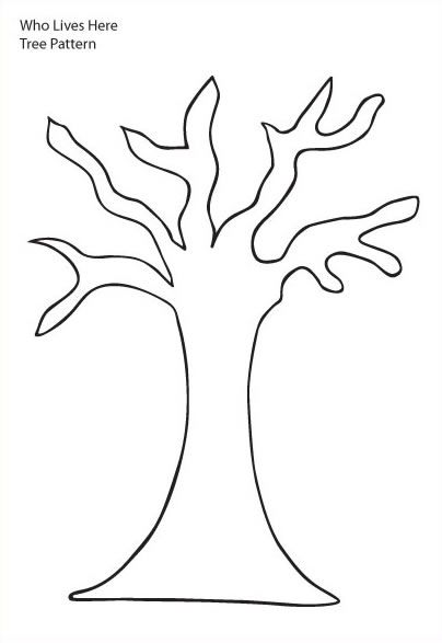 tree trunk clipart | Tree Pattern - Tree with six branches and trunk without leaves on