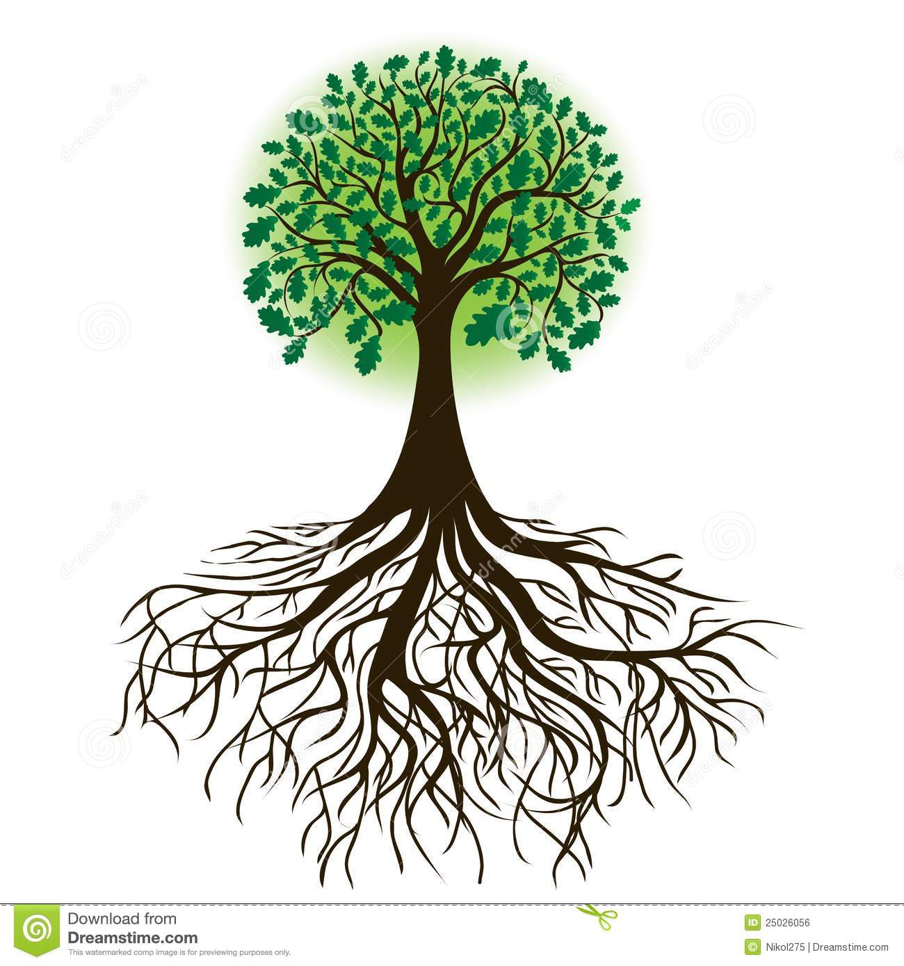 trees with roots clip art - B - Tree Roots Clipart