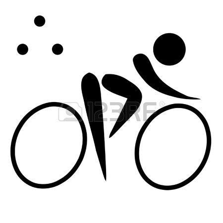 Triathlon: Black Silhouetted Triathlon S-triathlon: Black silhouetted triathlon sign or symbol; isolated on white background.-11