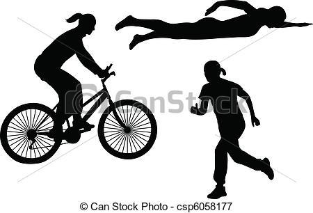 ... Triathlon Silhouettes - Vector-... triathlon silhouettes - vector-18