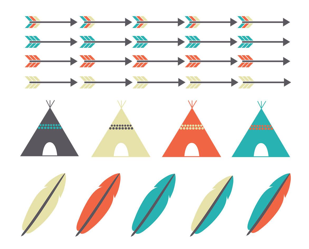 Tribal Arrow Teepee Feather Clipart