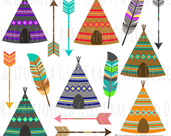 Tribal Clip Art - Instant Digital Download - Teepees, Feathers and Arrows - Original Clipart