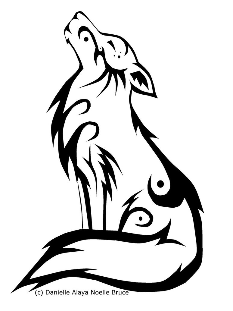 Tribal howling wolf clipart