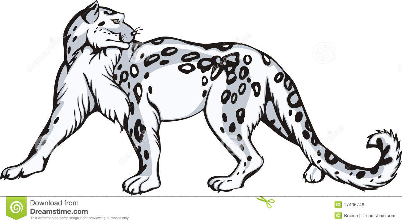 Tribal Snow Leopard Clipart #1