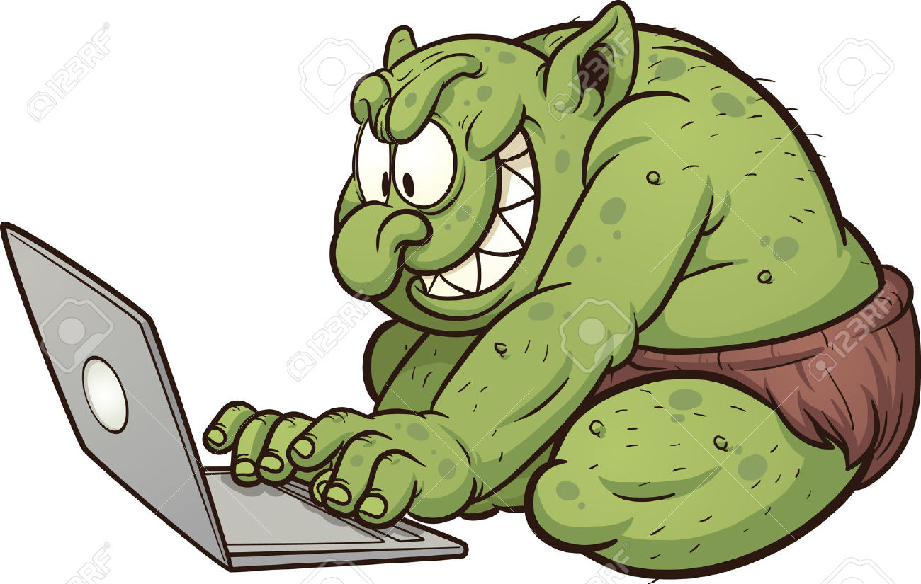 troll: Fat internet troll using a laptop-troll: Fat internet troll using a laptop Vector clip art illustration with  simple gradients All-6