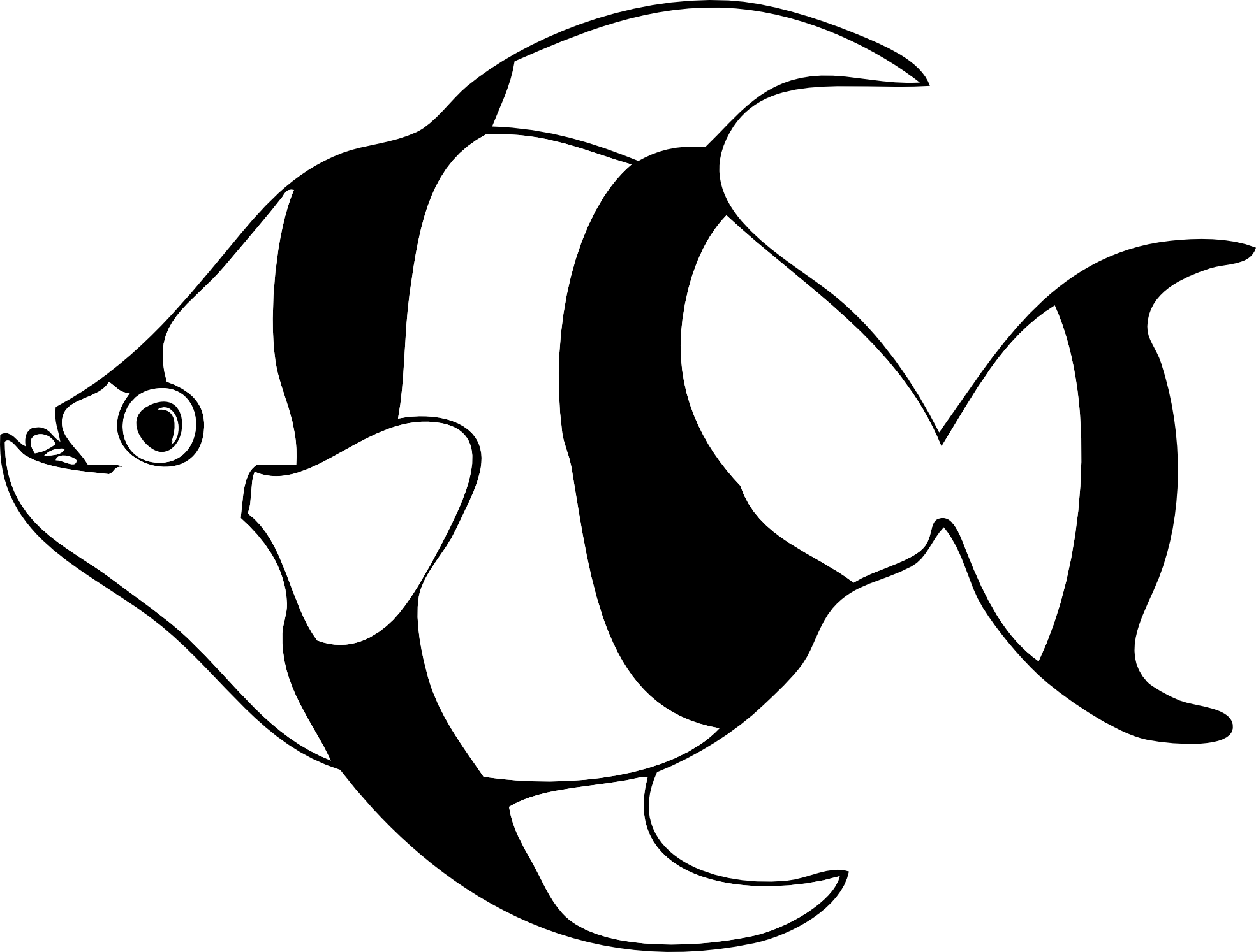 tropical fish black and white clipart