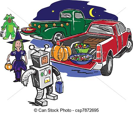 ... Truck or Treat - Kids trick or treating from the back of.