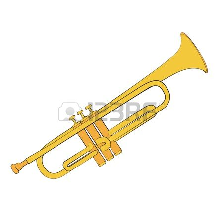 trumpet: Golden trumpet isolated on a wh-trumpet: Golden trumpet isolated on a white background-9