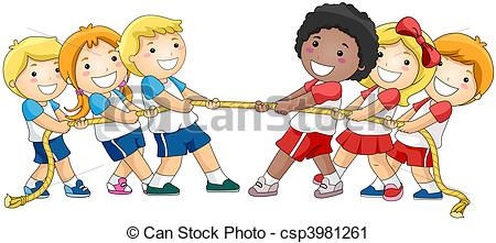 Tug of War - Children playing Tug of War with Clipping Path