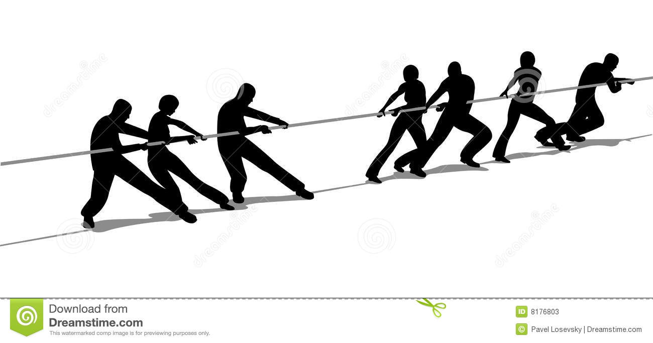Tug-of-war people silhouette