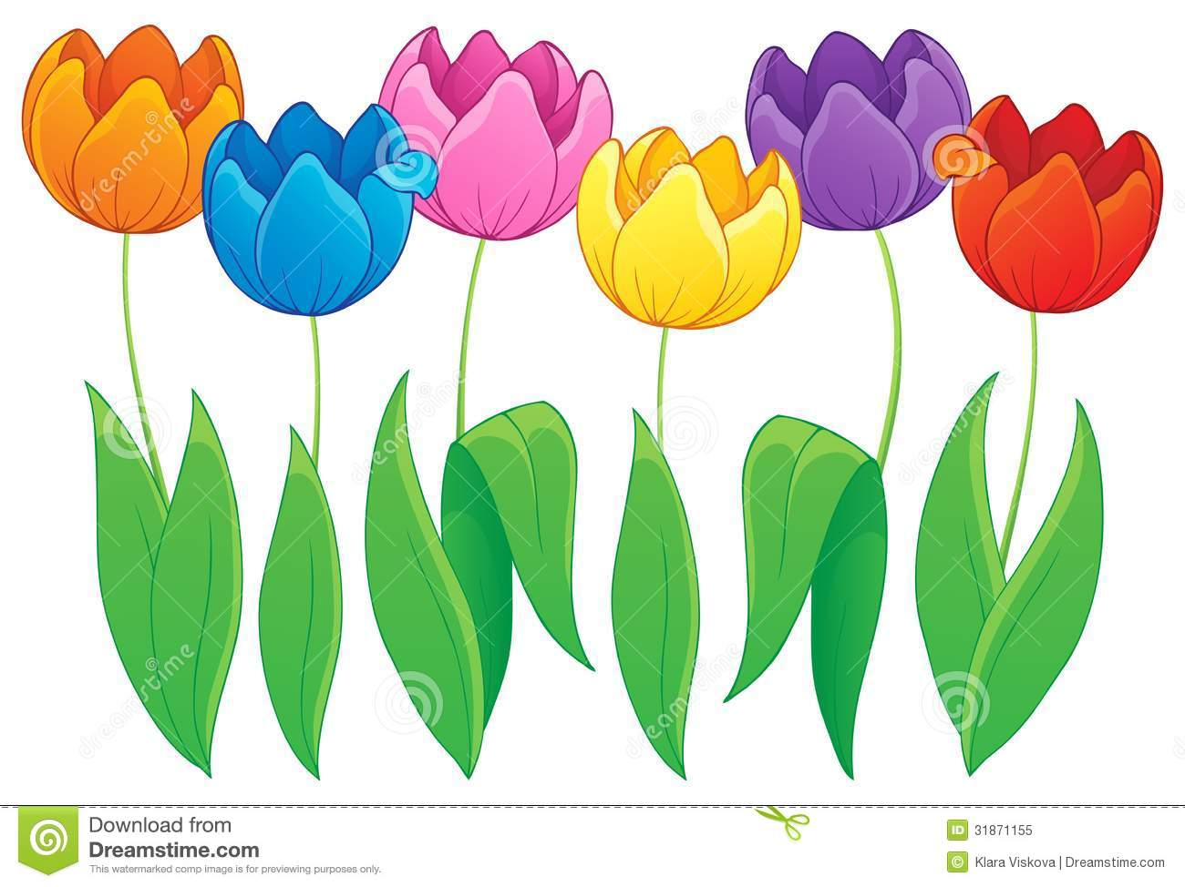 Tulip Flower Clip Art. Image with tulip flower theme .