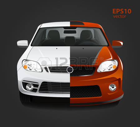 Car tuning color 3d creative illustration. Before and after concept.