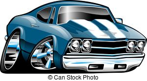 . ClipartLook.com Classic American Muscle Car Cartoon Illustration. Blue with.