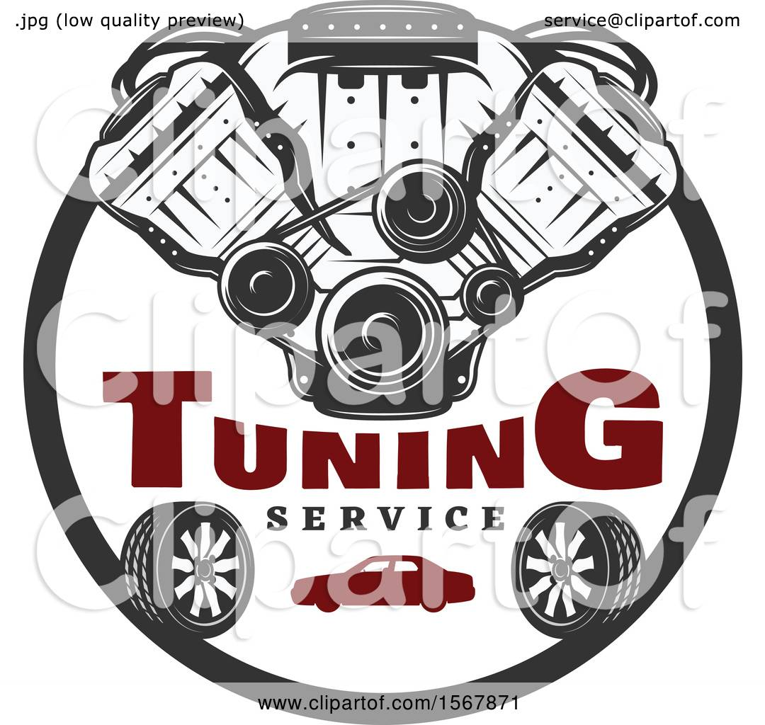 Clipart of a Car Engine Tuning Service Design - Royalty Free Vector  Illustration by Vector Tradition SM