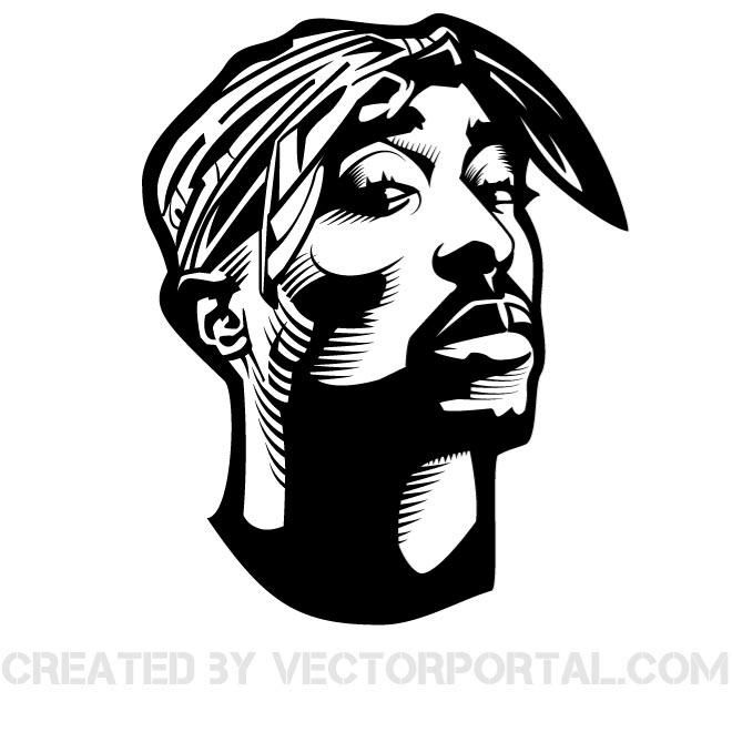 RAPPER TUPAC SHAKUR VECTOR GRAPHICS