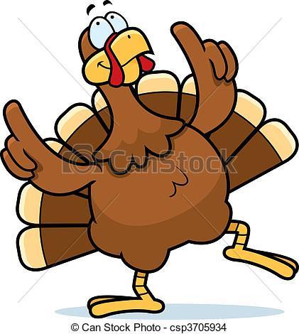 Turkey Dancing - A happy cartoon turkey -Turkey Dancing - A happy cartoon turkey dancing and smiling.-16