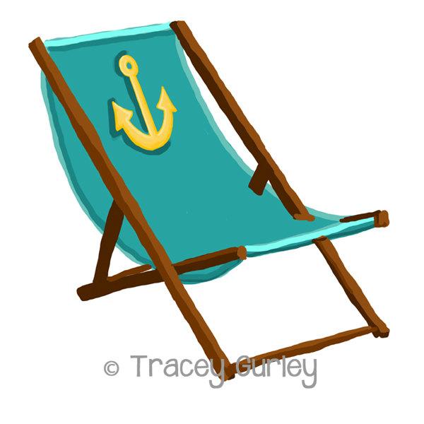 Turquoise Beach Chair with Anchor - with-Turquoise Beach Chair with Anchor - with and without Sand - Original Art - 3 files, beach chair clip art, beach chair printable-2