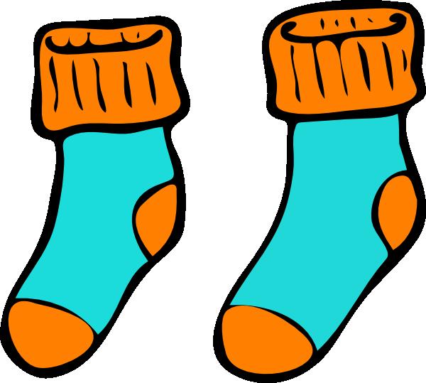 Turquoise Orange Sock Clip Ar - Clip Art Socks