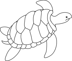 Turtle Clipart Image Black And White Drawing Of A Sea Turtle