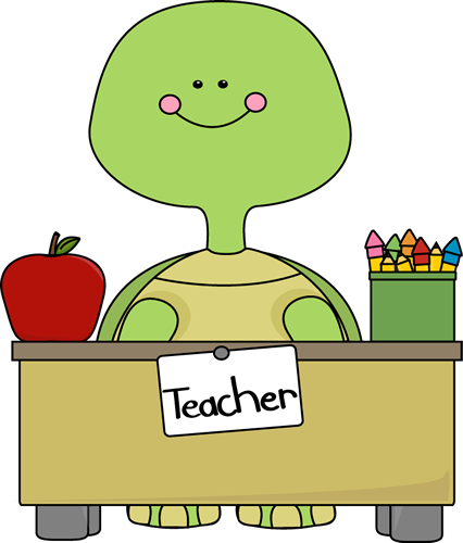Turtle Teacher Clip Art Image Turtle Teacher Sitting Behind A Desk