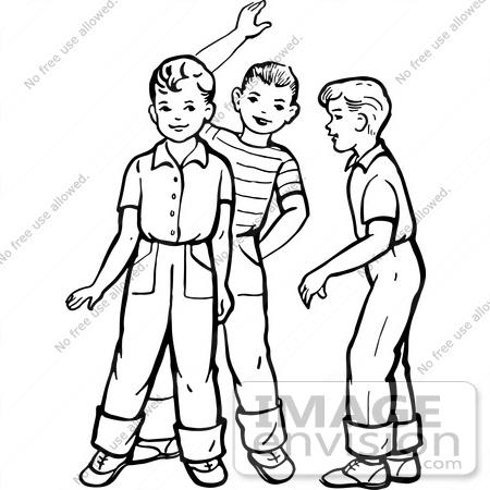 two boy friends clipart