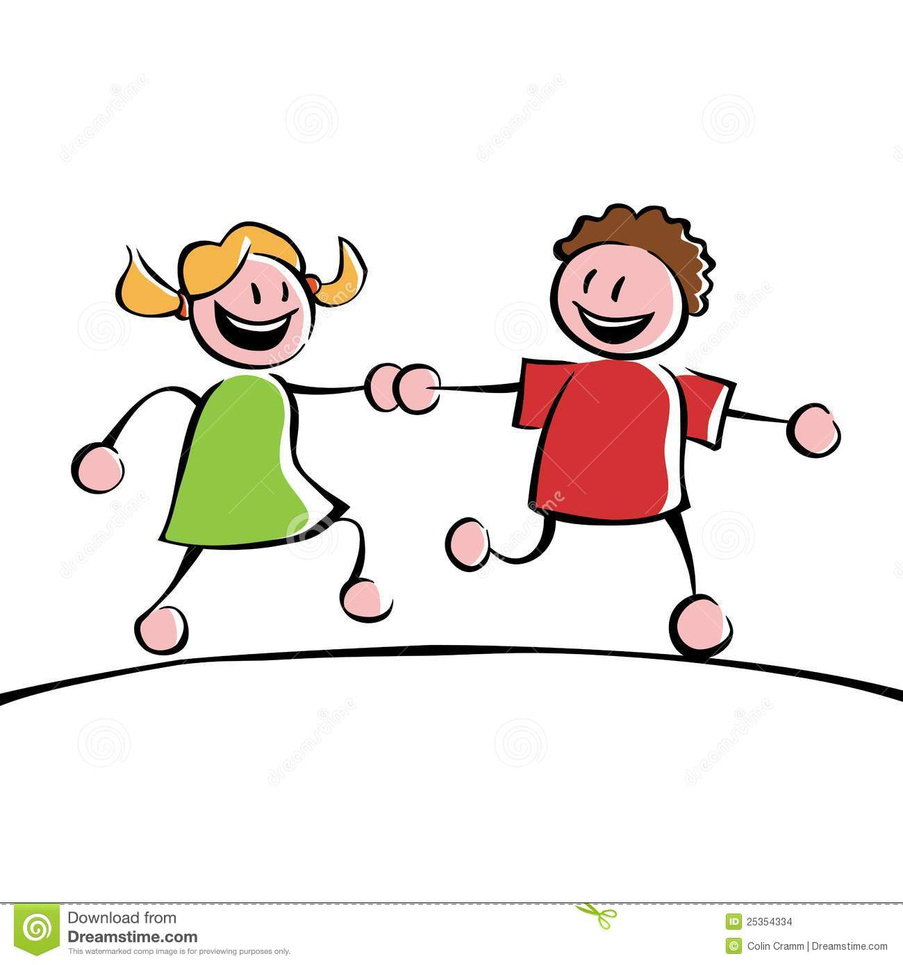 two friends holding hands clipart