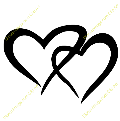 two hearts clipart black and white