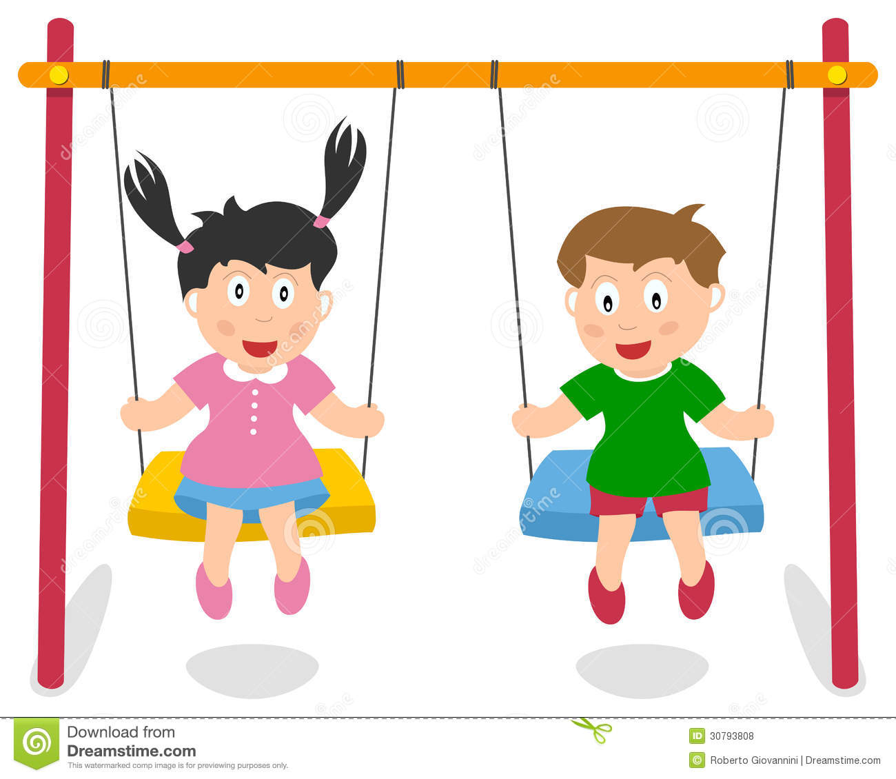 Two Boys Swinging Clipart