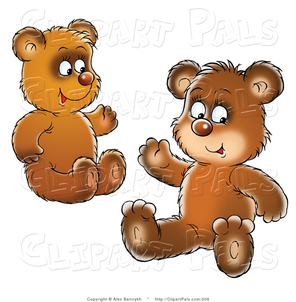 Two Brown Bear Cubs Siblings Or Friends Sitting On The Ground And