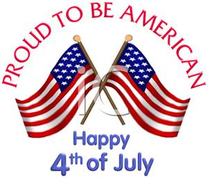Two Flags Crossed For 4th of July - Royalty Free Clipart Picture
