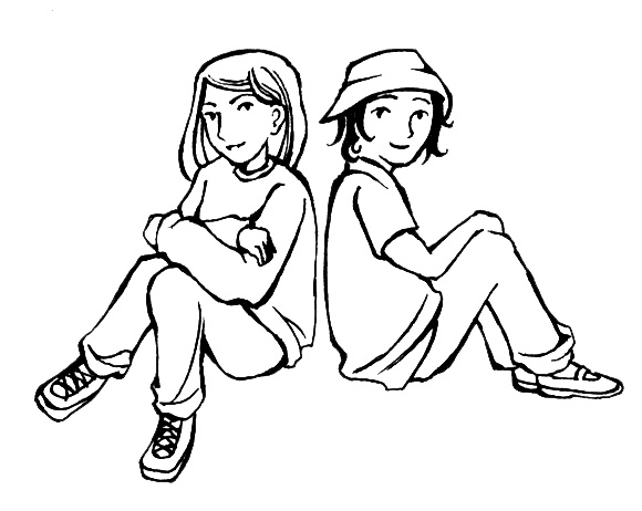 Two Friends Clipart Black And White | Clipart library - Free Clipart